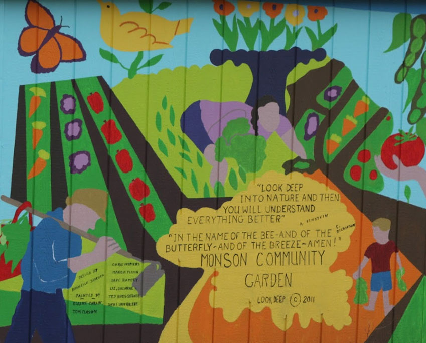 Mural on community garden shed