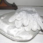 silver evening bag and gloves
