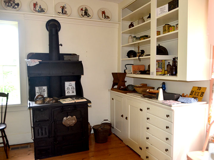 Cast iron stove in 1890s kitchen