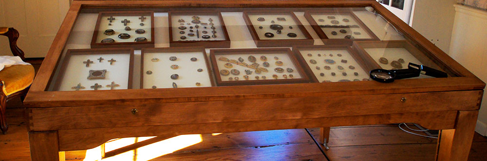 One of many button display cases (photo courtesy Judy Weaver)