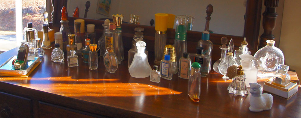 Perfume bottle collection, photo courtesy Judy Weaver